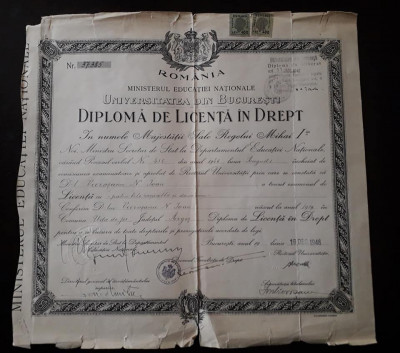 Diploma licenta Drept 1946 Universitatea din Bucuresti foto