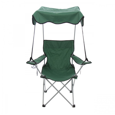 Scaun pliabil pentru camping, 84 x 52 x 85 cm, protectie solara, structura metalica foto