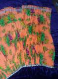 Fusta plisata cu pliuri de TIGANCA,Fusta TIGANCA veche tip SORT-portocaliu,T.GRA