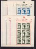 ROMANIA  1945 LP 175 a ORGANIZATIA SPORTURILOR POPULARE (OSP) BLOCURI DE 9  MNH, Nestampilat
