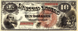 10 dolari 1880 Reproducere Bancnota USD , Dimensiune reala 1:1