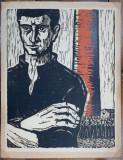 Vasile Dobrian (1912-1999) - Greva, Linogravura