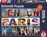 Puzzle London, Paris, New York, 1000 piese, Schmidt