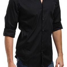 Camasa bumbac slim fit Y-7 barbati, neagra, marimea 45 (120 cm bust)