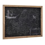 Design fotografie de perete pe foaie de PVC cu argint Modell 5 - Harta Europei, 60x80x2,5cm cu rama lemn