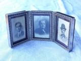 RAMA FOTO cu 3 locuri FOTOGRAFII cu RABATARE de BIROU splendida VECHE vintage