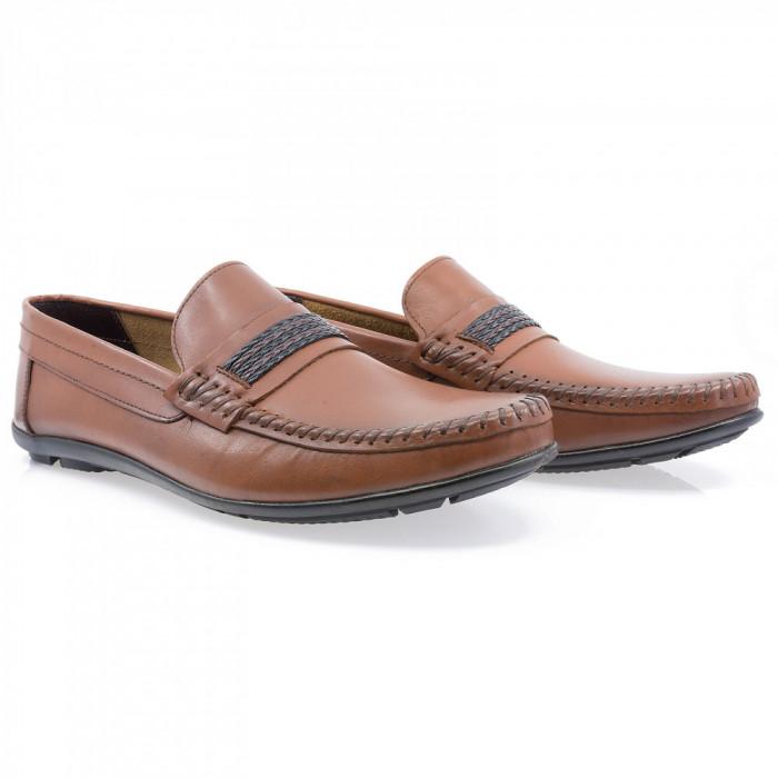 Pantofi barbati Caspian din piele naturala Cas-611-TABA