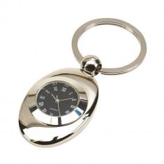 Breloc cu ceas, Everestus, KR0713, aliaj de zinc, otel, argintiu, laveta inclusa