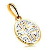 Pandantiv din aur galben 14K - cerc decorat cu diamante strălucitoare, placaj negru