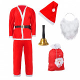 Costum de Mos Craciun pentru adulti, 5 piese,material flausat + clopotel si Sac premium CADOU