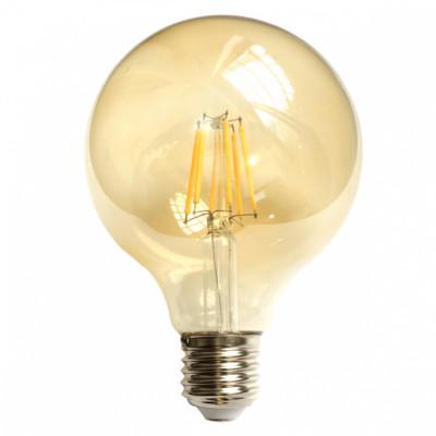 Bec LED Filament Amber E27 8W 800LM 2500K G125 foto