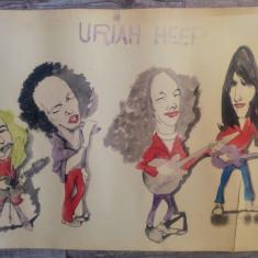 Caricatura Uriah Heep, trupa rock// acuarela pe hartie, fan art