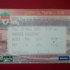 Bilet Fotbal Steaua Bucuresti Romania Liverpool England