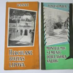 Reclame, Pliante Turistice vechi, Romania: 2 bucati, Timisoara, Banat