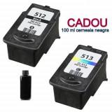 Pachet Cartuse compatibile CANON PG-512 negru + CL-513 color PG512 + CL513 pt...