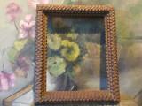 Tramp art - Veche rama din lemn model deosebit pentru fotografii / oglinda !