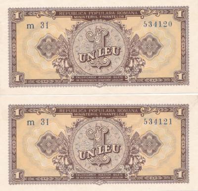 ROMANIA 2 X 1 LEU 1952 XF CONSECUTIVE foto