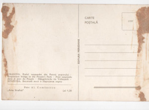 CPI B 11491 CARTE POSTALA - CRAIOVA. PODUL SUSPENDAT DIN PARCUL POPORULUI