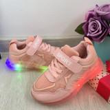 Cumpara ieftin Adidasi roz cu lumini LED si scai pt fete 26 27 29 30 cod 0792, Unisex