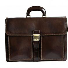 Servieta barbati din piele naturala vachetta, geanta acte, util land, S131B