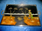 5282-Tava pictata veche pe sticla Japonia, rama lemn, manere metal.