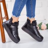 Sneakers dama cu platforma negri Afroze -rl