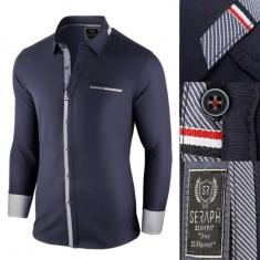 Camasa pentru barbati bleumarin Slim fit casual cu guler Sergio II