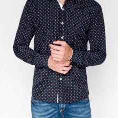 Camasa pentru barbati, bleumarin, cu model, slim fit, casual, cu guler - k314