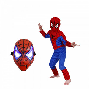 Set costum Spiderman marimea M si masca LED