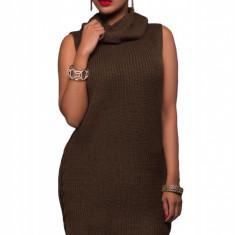 H524-1218 Rochie scurta stil pulover tricotat cu guler inalt