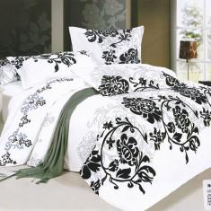 Lenjerie de pat Casa New Fashion alba cu imprimeu negru