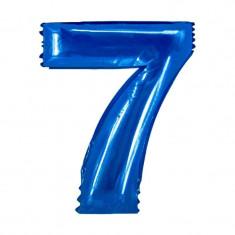 Balon folie cifra mare, albastru metalizat, 35 cm, pentru aniversari model model 7