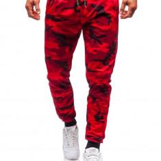 Pantaloni de trening bărbați camuflaj-roșu Bolf MK19