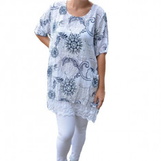 Bluza dama Inna cu imprimeu si insertii de dantela ,nuanta de alb, 50, 52, 54, 56