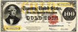 100 dolari 1922 Reproducere Bancnota USD , Dimensiune reala 1:1