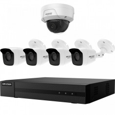 Kit HikVision HiWatch 4 camere analogice 4MP + o camera IP 2 MP IR 30 40m