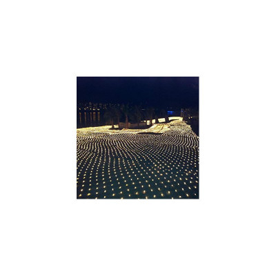 Instalatie de Craciun 4 m x 6 m , Plasa Alba Cald, 672 leduri, SDX, 6016WW foto