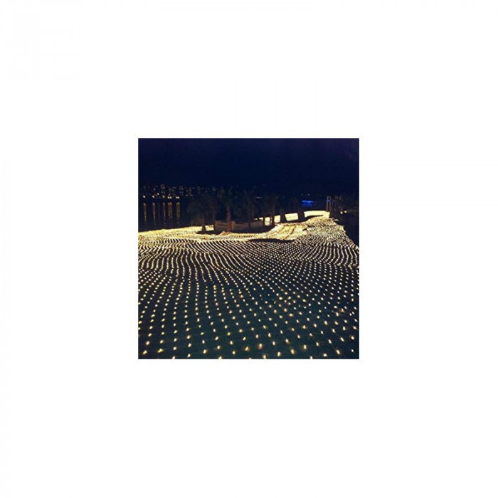 Instalatie de Craciun 4 m x 6 m , Plasa Alba Cald, 672 leduri, SDX, 6016WW