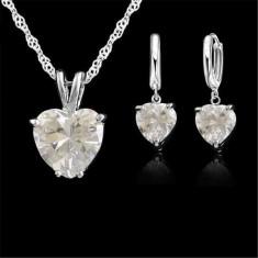 Set bijuterii dama: cercei + lantisor, placate cu argint 925