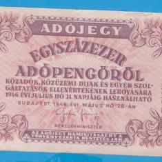 (7) BANCNOTA UNGARIA - 100.000 ADOPENGO 1946 (28 MAI 1946)