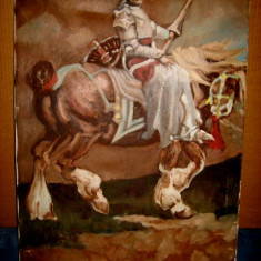 A762-Tablou Cavaler medieval in armura pe cal. Ulei pe panza 70/ 50 cm.