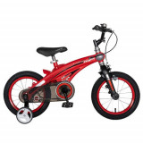 Bicicleta Copii Rich Baby W1439D, roti 14inch, cadru aliaj magneziu, frana C-Brake, roti ajutatoare, 3-5 ani, (Rosu/Negru)