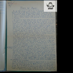 Manuscris/ Articol scris si semnat de Marcel Breslasu - Vioara lui Ingres - 2 pg