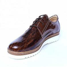 Pantofi dama din piele naturala, Cameleon, Alexin, Maro, 41 EU