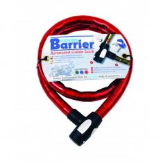 Cablu armat cu lacat Barrier 25mmx1.5m, Rosu