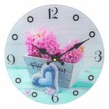 Ceas de perete din sticla, model floral, 30 cm, multicolor