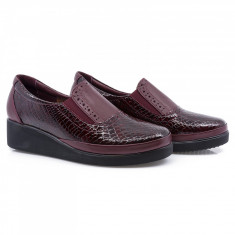 Pantofi dama, Caspian, CAS-142, casual, piele lacuita, bordo