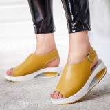 Sandale Piele Erilia galben mustar cu talpa ortopedica -rl