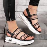 Sandale dama cu talpa sport negre Atmila