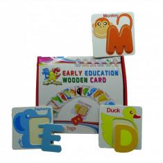 Joc educativ din lemn cu litere si carduri cu animale,varsta 3 ani+, 2-4 ani, Unisex